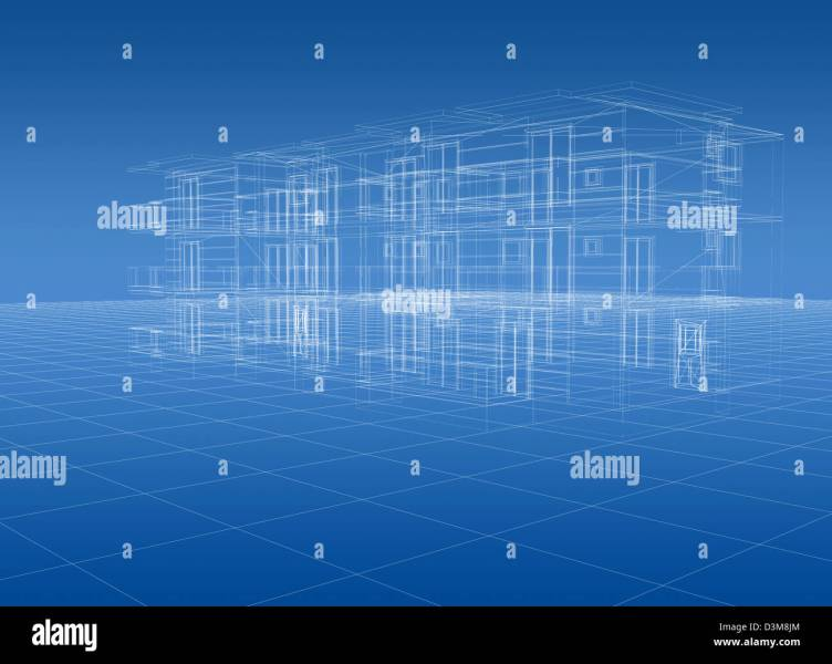 Blueprint of house structure 3D Stock Photo  53920908   Alamy Blueprint of house structure 3D