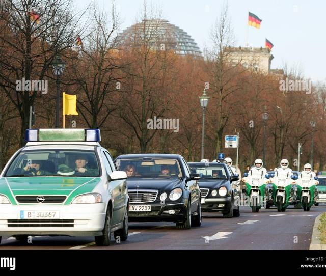 A Motorcycle Police Echelon Aka White Mice Escorts A Political Guest In Berlin Germany  Photo Gero Breloer