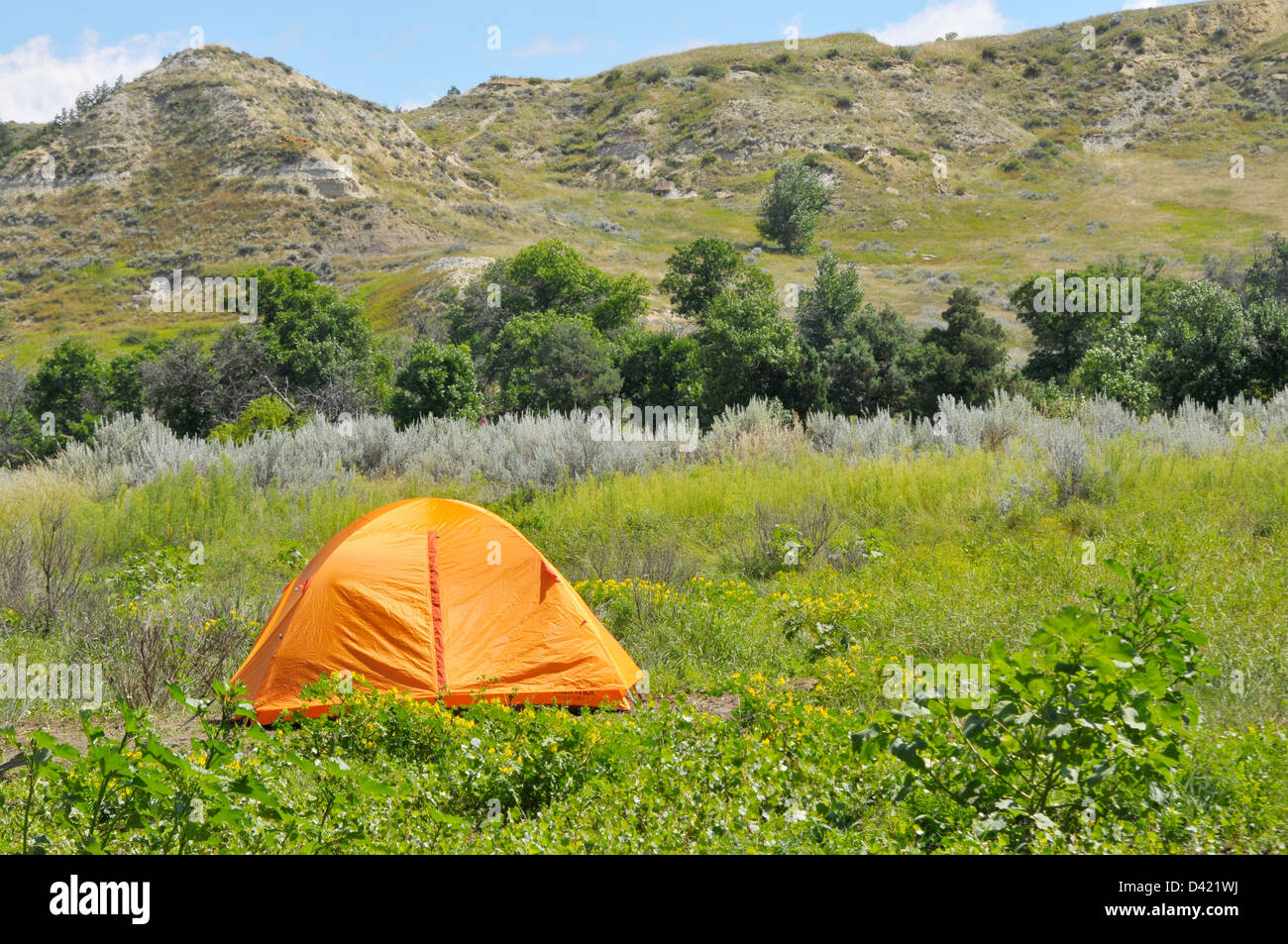 Tent Camping Theodore Roosevelt National Park North Dakota Nd Us Stock Photo