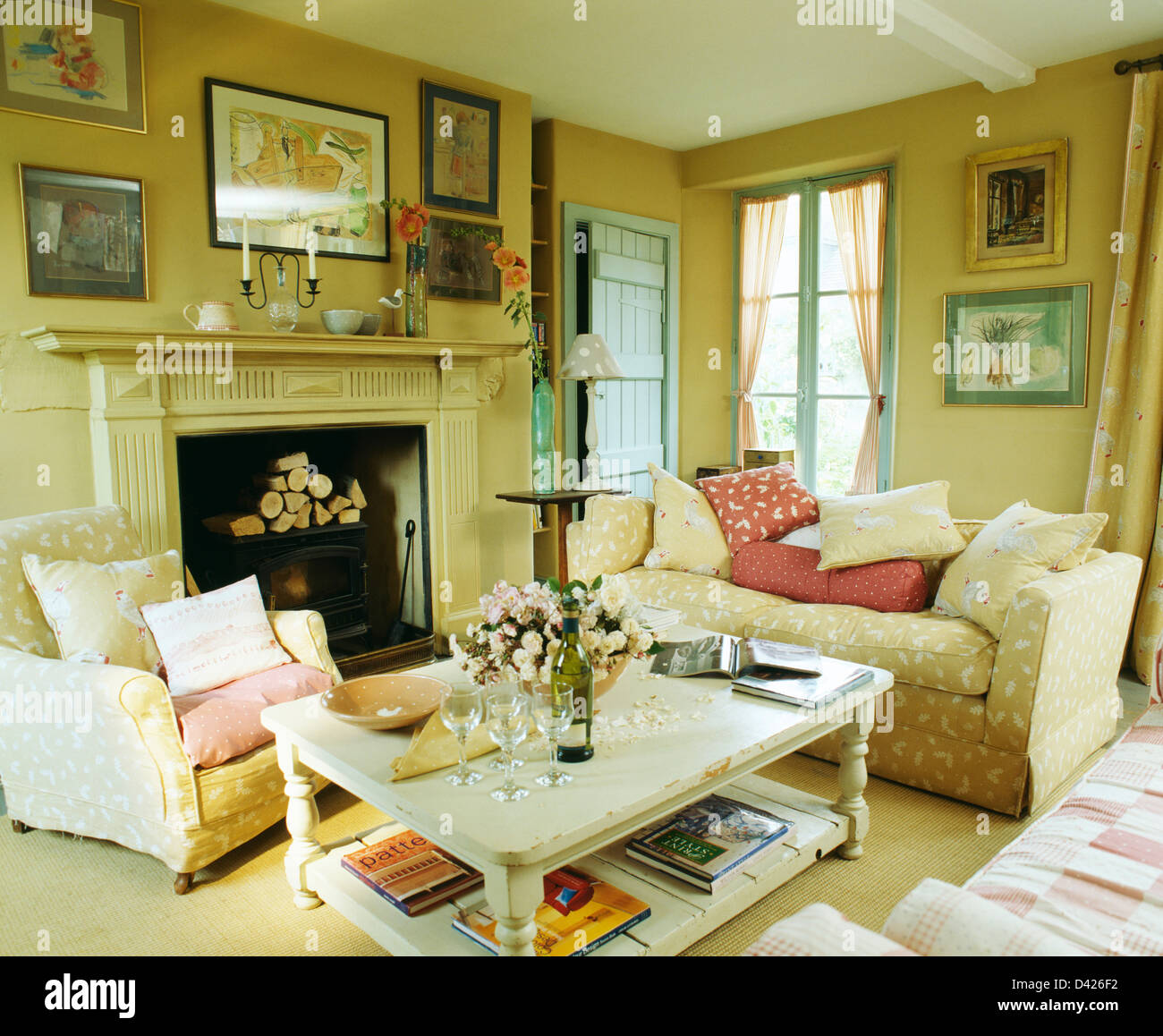 https www alamy com stock photo white painted coffee table in cosy country living room with armchair 54138758 html