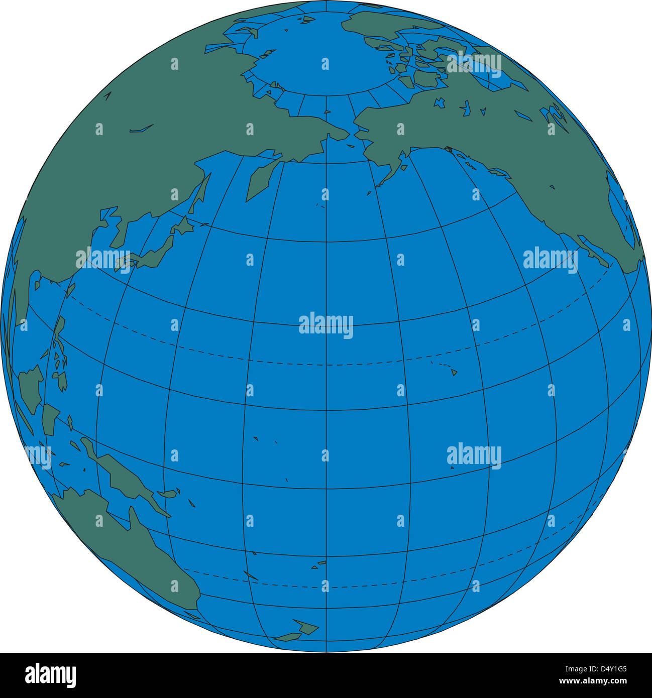 World Map Globe North Pacific Ocean Stock Photo Alamy