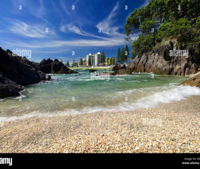 Shelly Beach With Crashing Waves At Mount Maunganui New Zealand