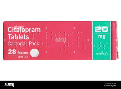 A box of Citalopram 20 mg tablets to treat depression and ...