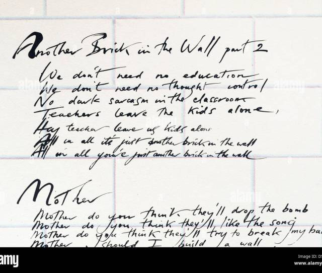 Pink Floyd Another Brick In The Wall Part 2 Lyrics As Printed On The Inner Sleeve Of The Album The Wall