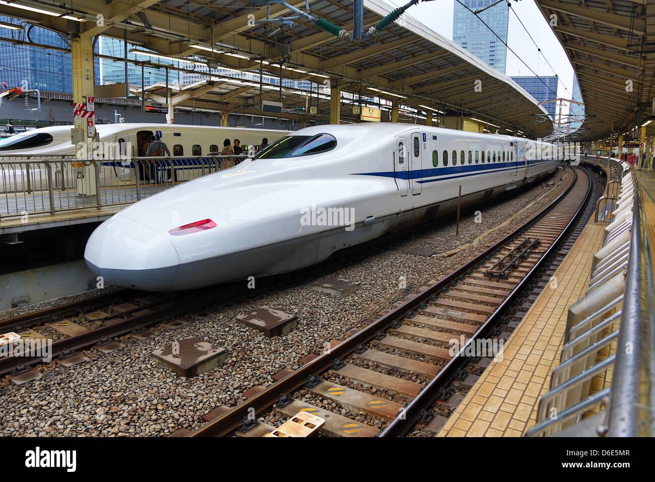 Shinkansen Japanese Bullet Train In Tokyo Railway Station