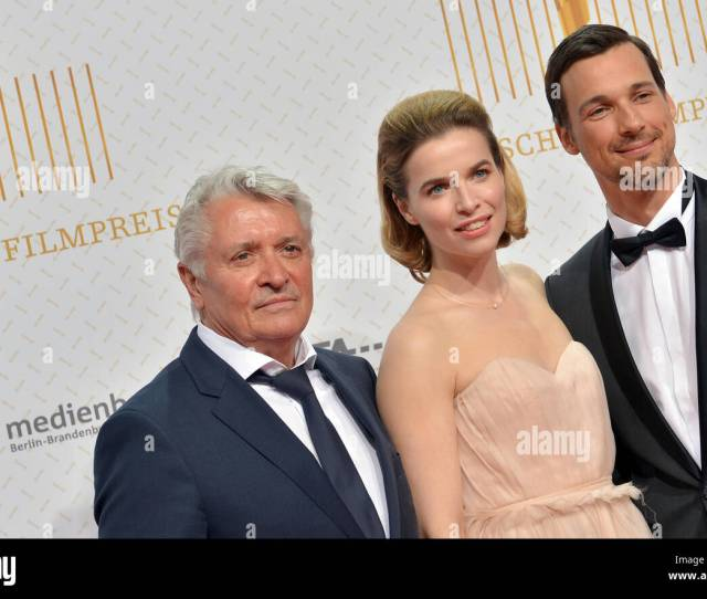 Actors Florian David Fitz R Henry Huebchen L And Escort C Arrive To The Ceremony For The Rd German Film Awards In Berlin Germany