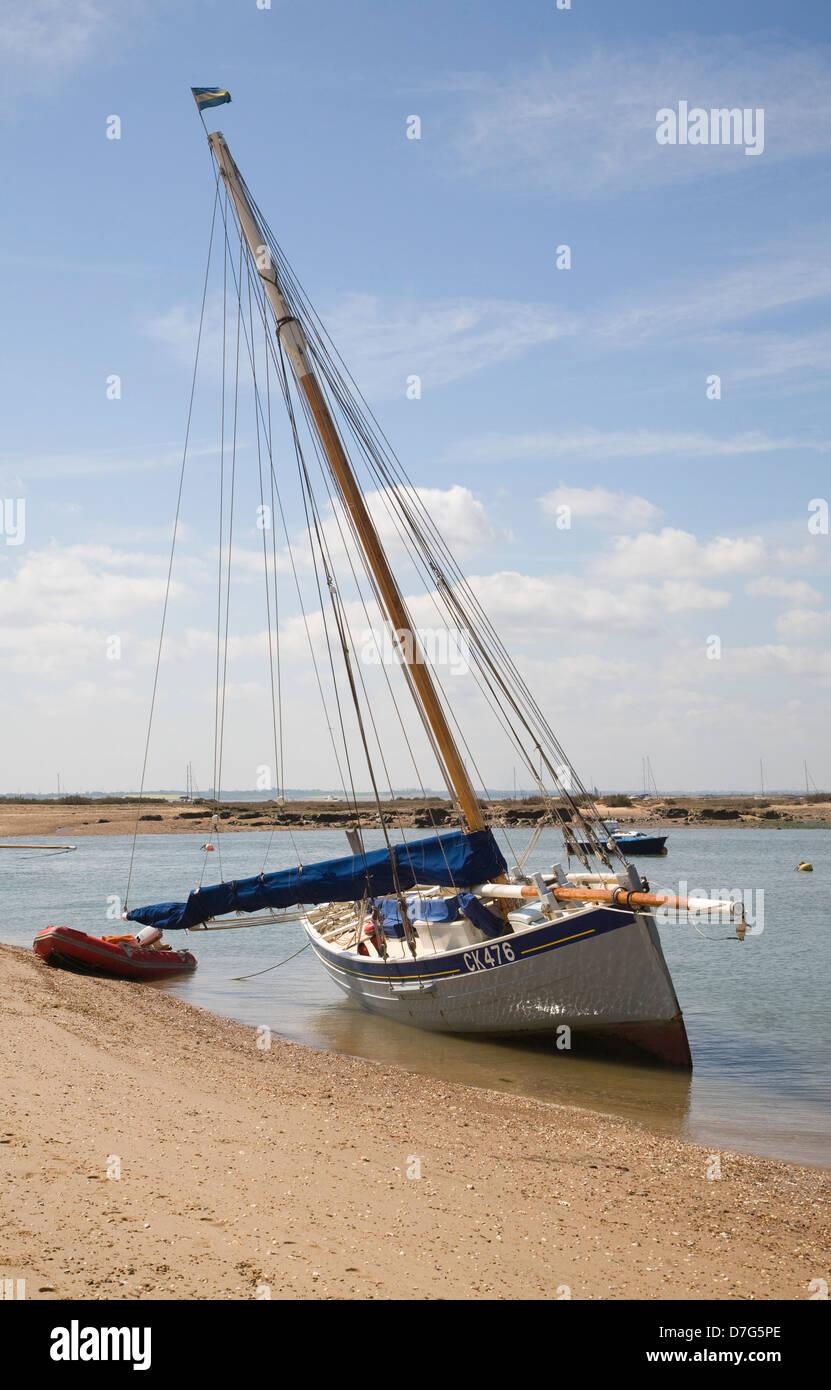 Yacht On River Blackwater At Low Tide West Mersea Mersea