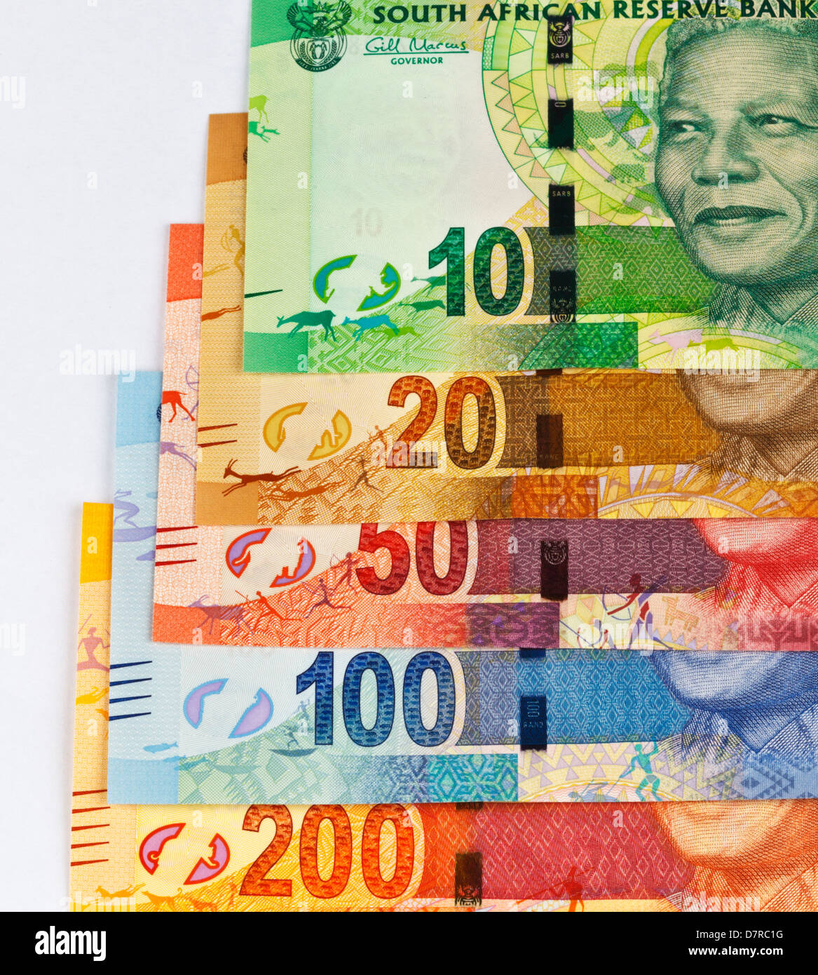 New South African Currency In Bill Denomination Depicting