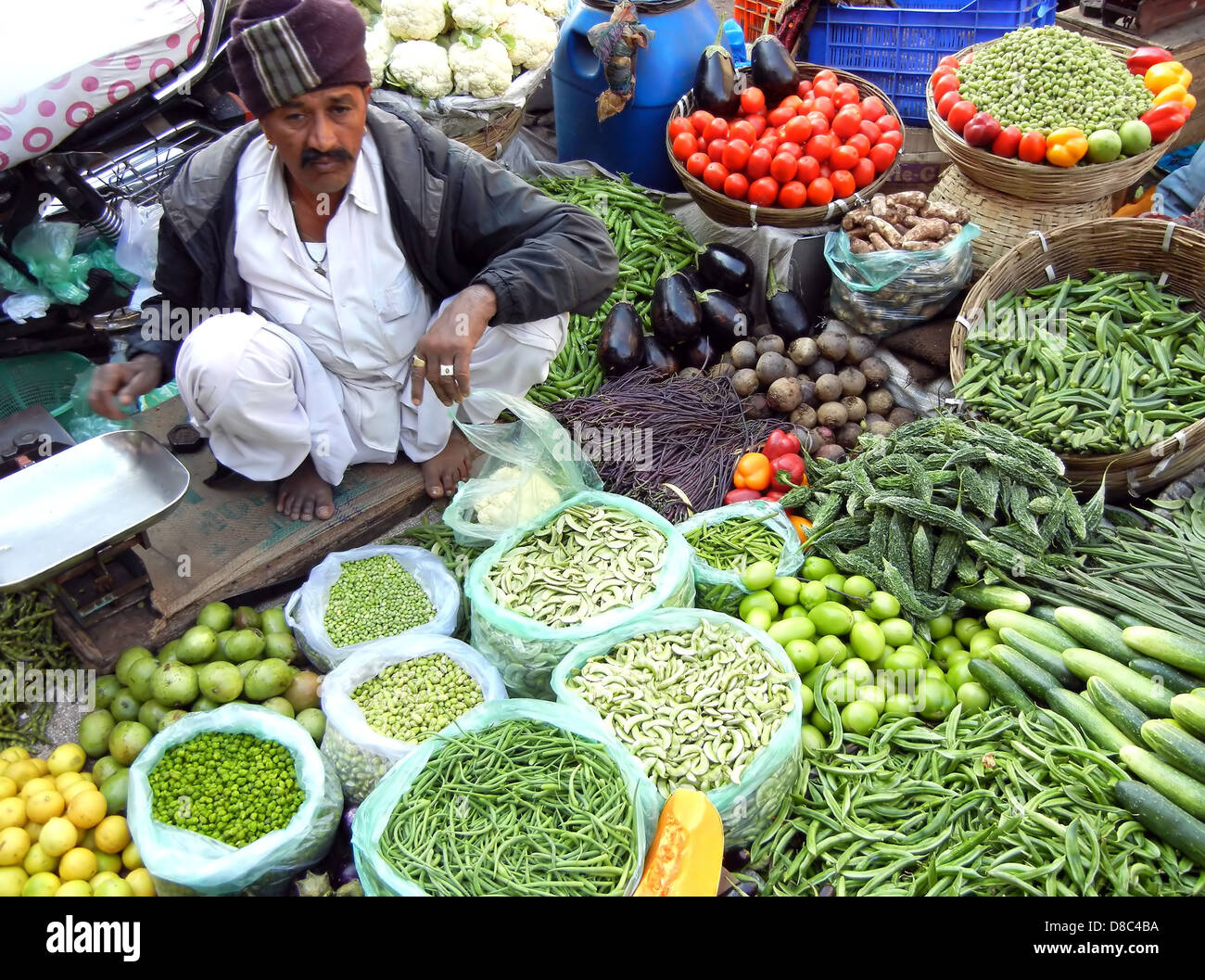Indian Street Vendor Selling Selling Fresh Vegetables And