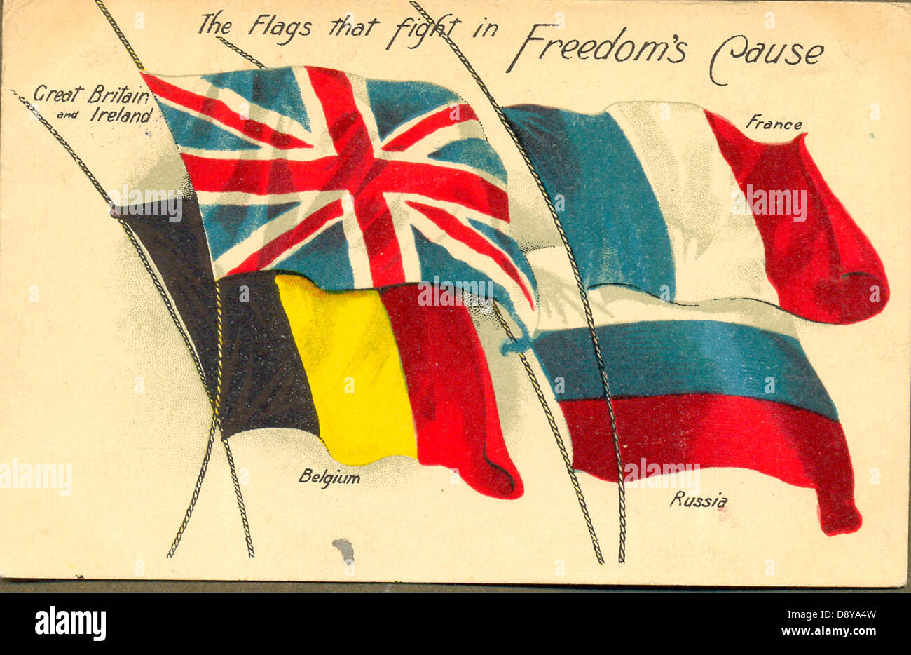 World War One Patriotic Postcard Of Allied Flags Stock