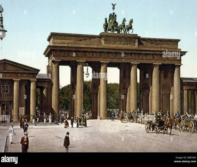 The Brandenburg Gate Berlin Germany   Showing Carriages With Mounted Military Escort Passing Through Central Arch