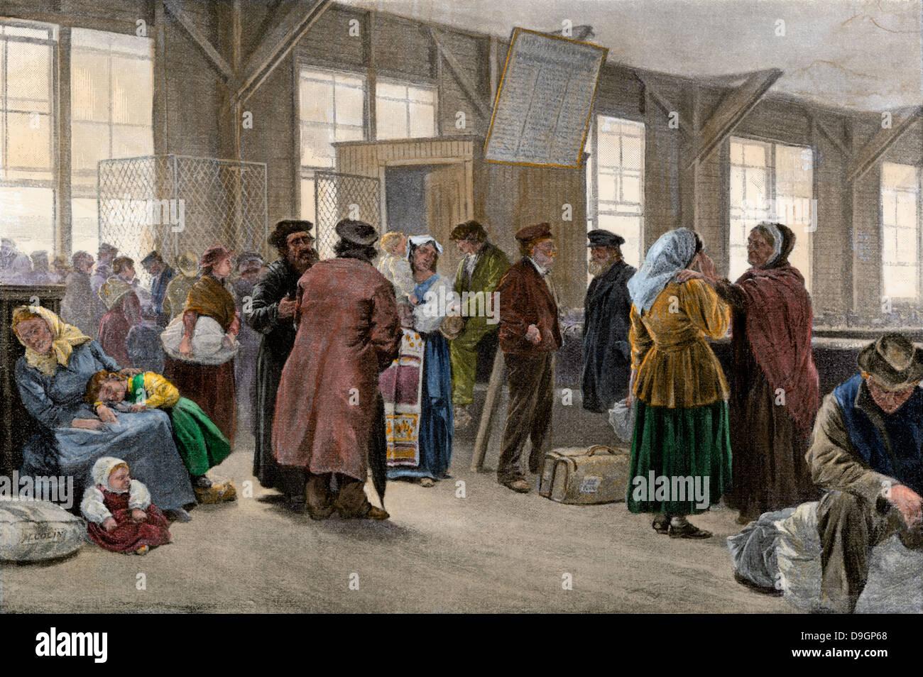 Detained Immigrants Waiting Ellis Island New York Late