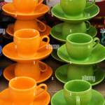 Display Of Tea Cups With Saucers For Sale At Market Stall Stock Photo Alamy