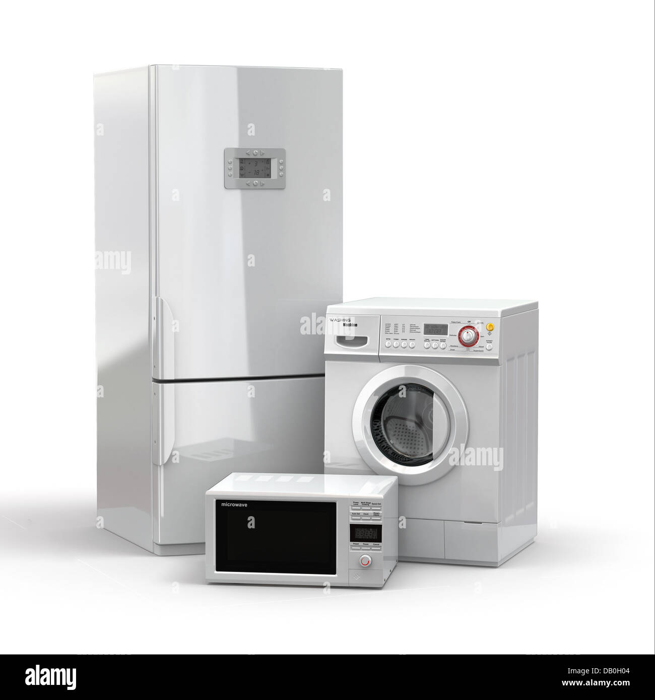 https www alamy com stock photo home appliances refrigerator microwave and washing maching 3d 58405652 html