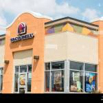 The Exterior Of A Chain Fast Food Mexican Restaurant Taco Bell In Stock Photo Alamy