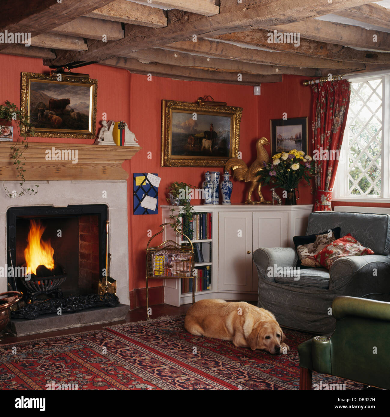 Labrador Dog Lying On Carpet In Front Of Fireplace With