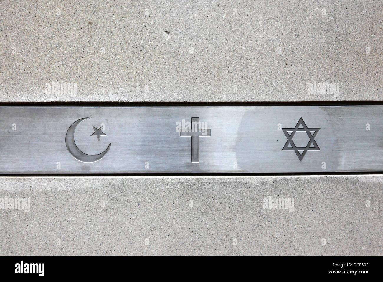 Symbols Of The Main Abrahamic Religions Christianity Judaism And Stock Photo