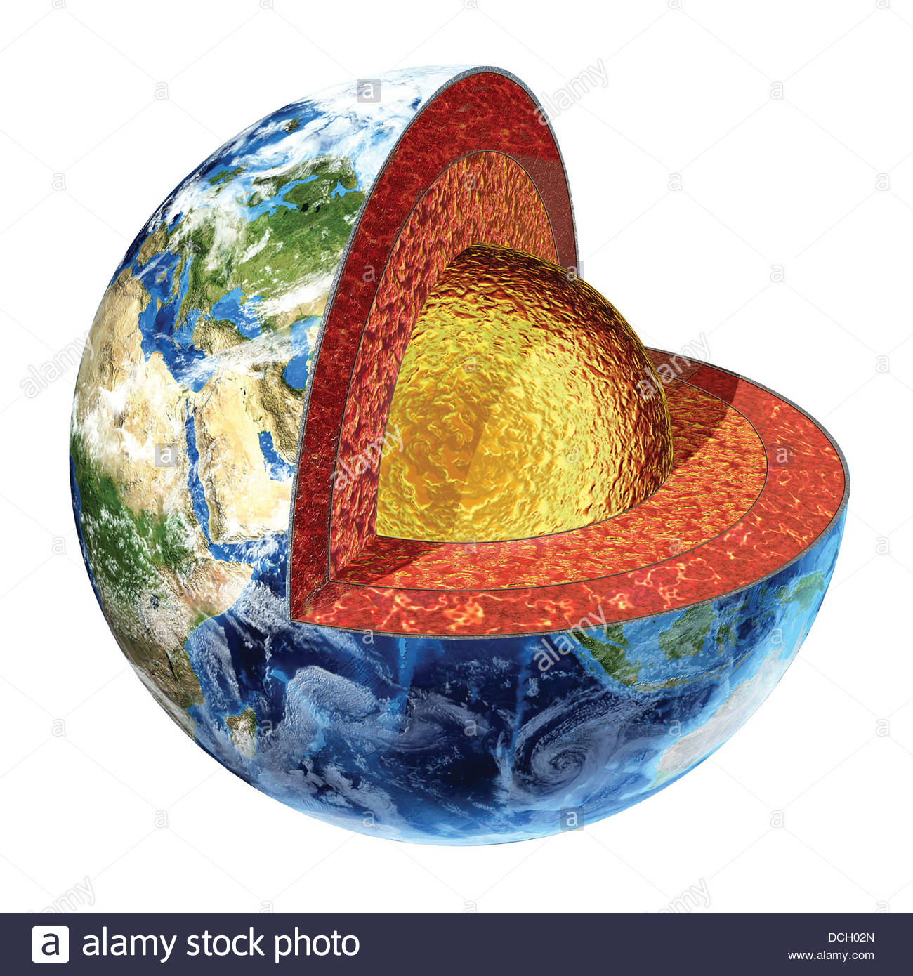 Cross Section Of Planet Earth Showing The Outer Core Made