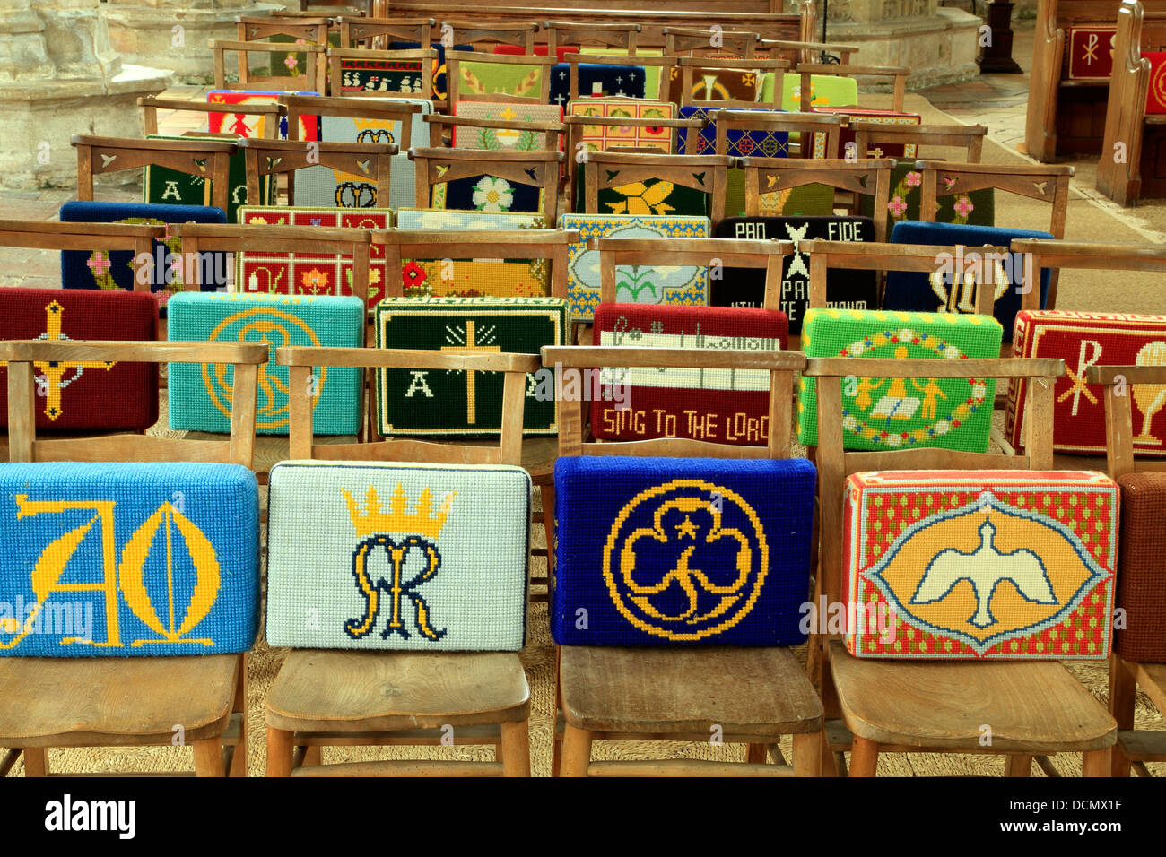 https www alamy com stock photo church kneeling cushions pew pews chair chairs embroidered embroidery 59466443 html