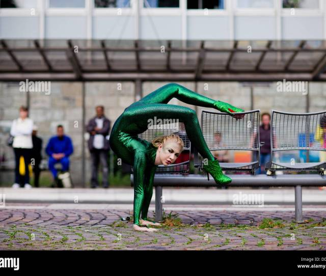 Bergisch Gladbach Germany Th Sep  Contortionist Zlata Poses At A Bus