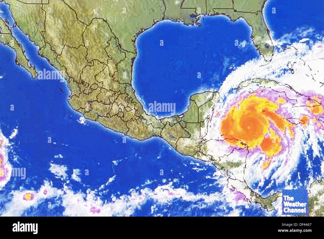 Weather Forecast Map Stock Photos   Weather Forecast Map Stock     Hurricane weather map of a level 5 storm as viewed on the internet and on tv