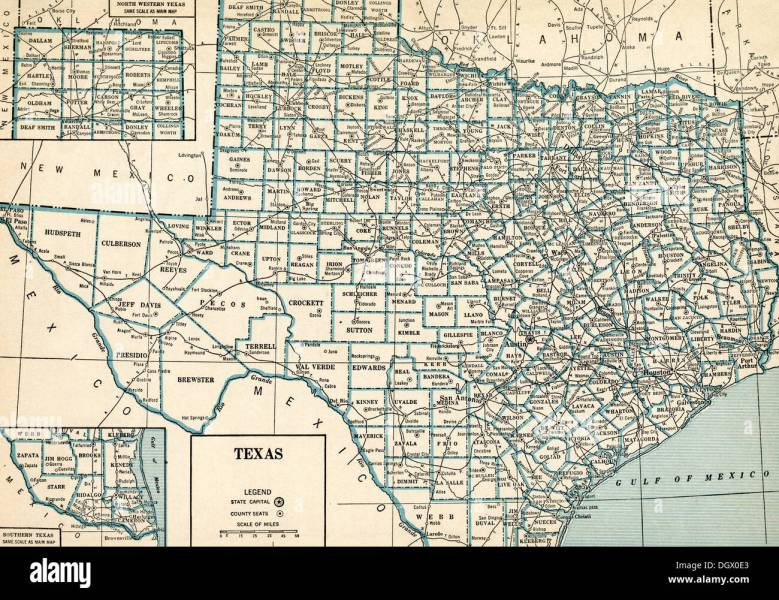 Old map of Texas  1930 s Stock Photo  62036747   Alamy Old map of Texas  1930 s