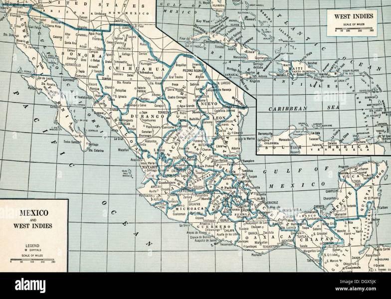 Mexico Map Stock Photos   Mexico Map Stock Images   Alamy Old map of Mexico  1930 s   Stock Image