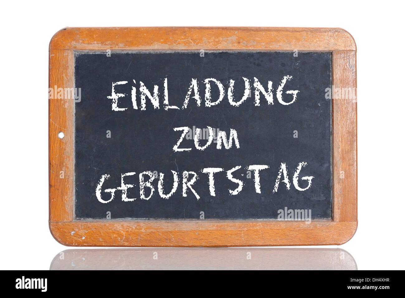 https www alamy com old school blackboard with the words einladung zum geburtstag german image62188947 html