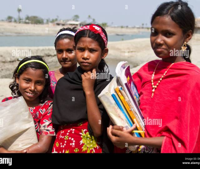 Four Girls With School Books Gabura Sundabarns Khulna District Bangladesh South