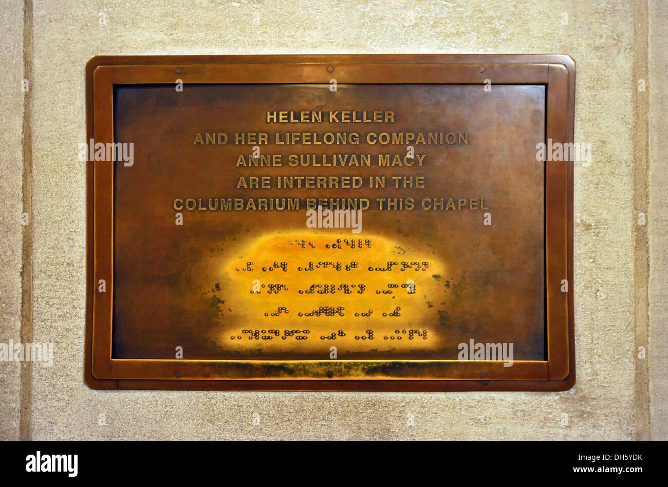 Grave Of Deaf Blind Writer Helen Keller Braille Crypt