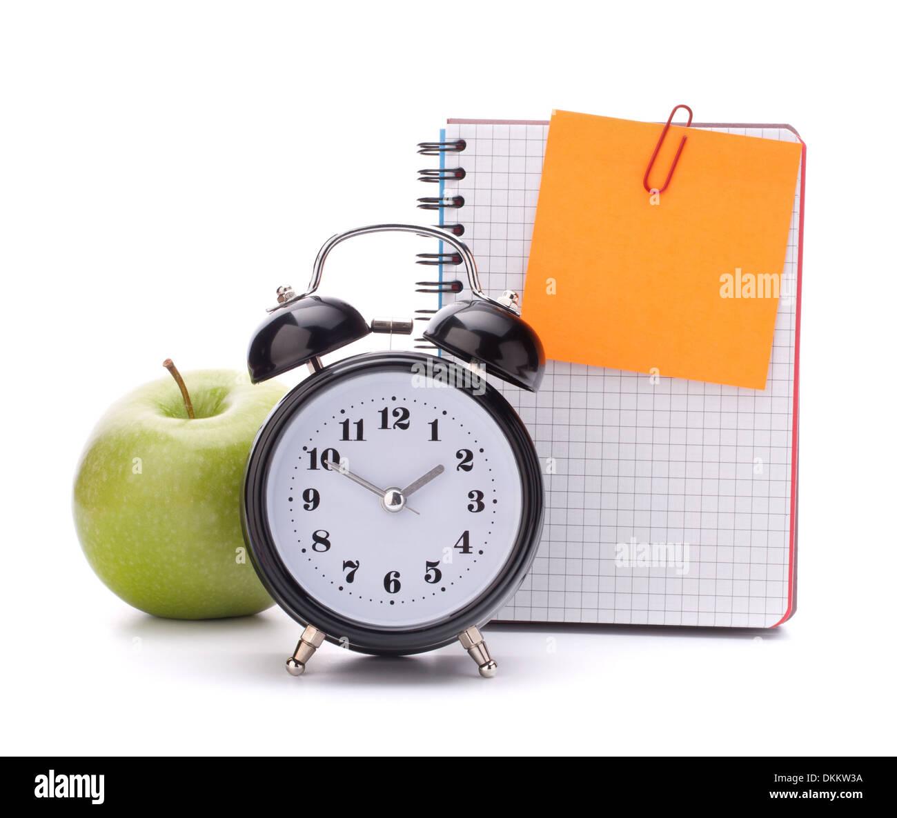 Alarm Clock Blank Notebook Sheet And Apple Schoolchild
