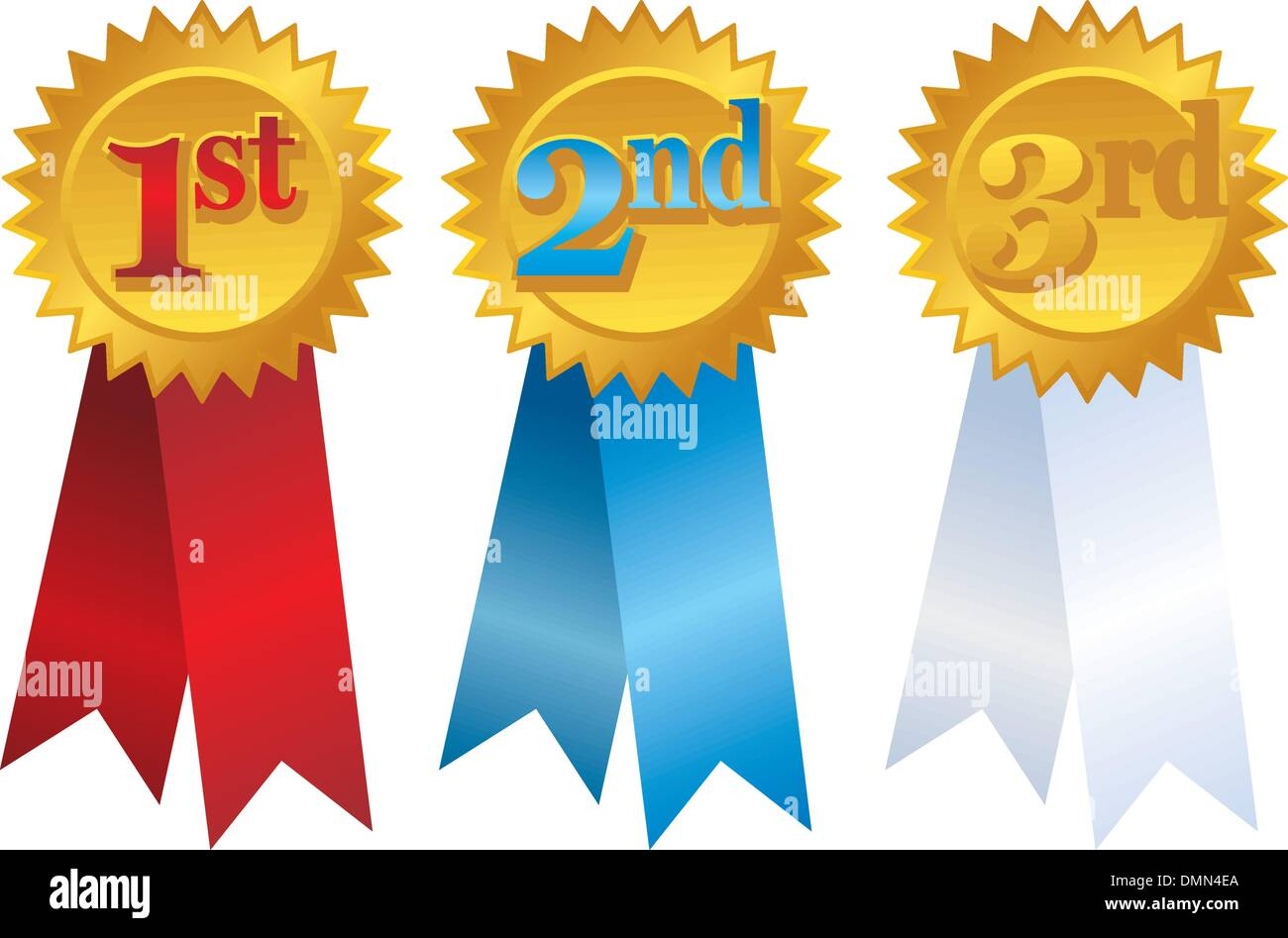 Vector Gold Award Ribbons With Place Numbers Stock Vector