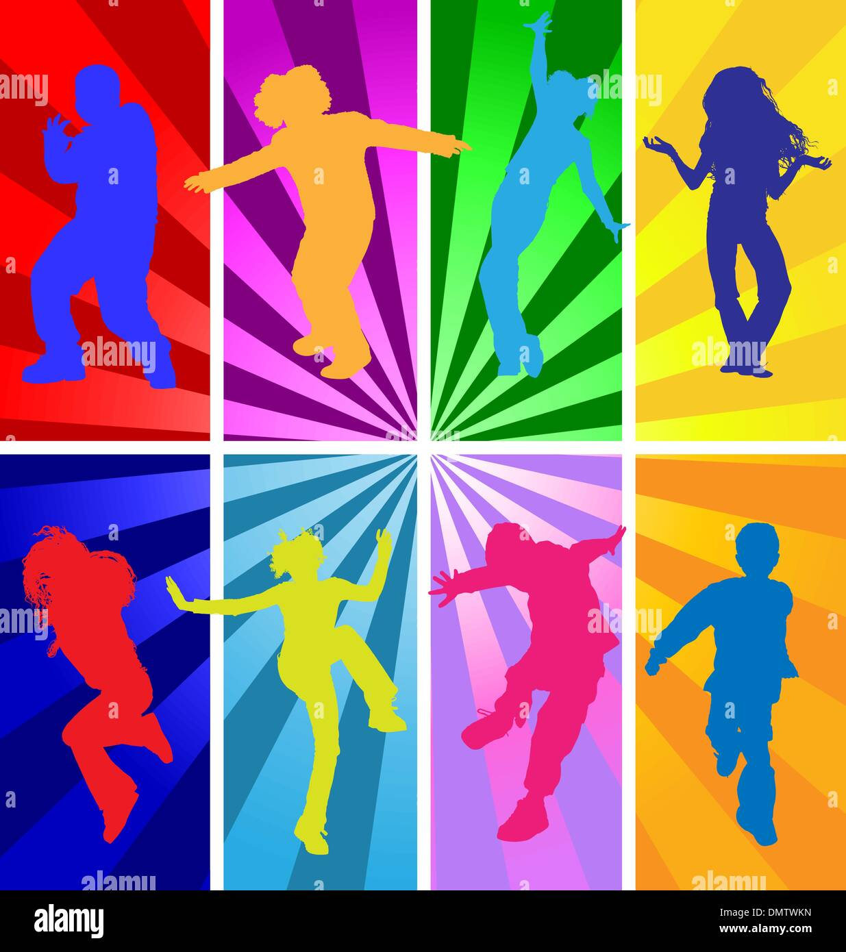 Vector Silhouettes Of Jumping And Dancing Kids In Retro