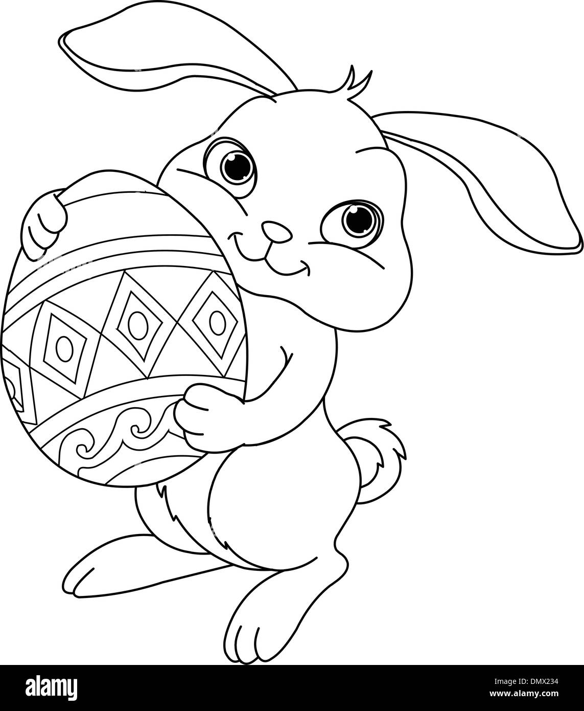 Easter Bunny Coloring Page Stock Vector Art