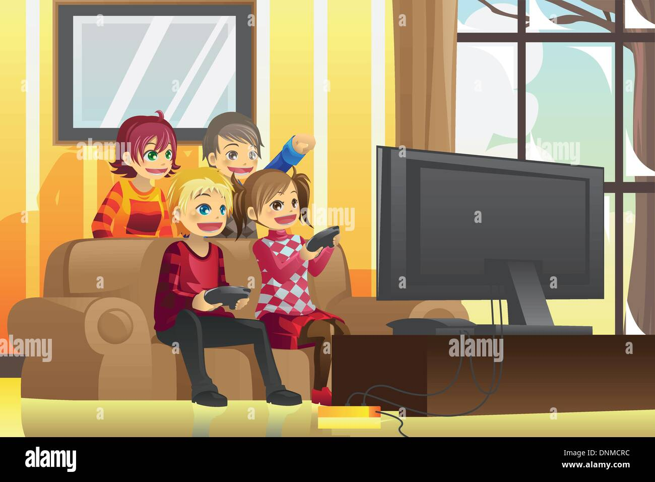 A vector illustration of kids playing video games at home Stock     A vector illustration of kids playing video games at home