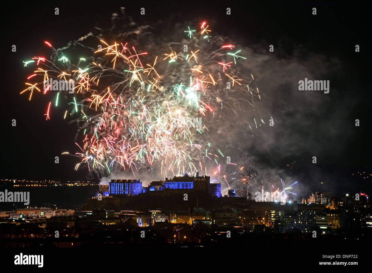 Edinburgh New Year Stock Photos   Edinburgh New Year Stock Images     New Year fireworks above Edinburgh Castle herald in 2014 as viewed from  Blackford Hill