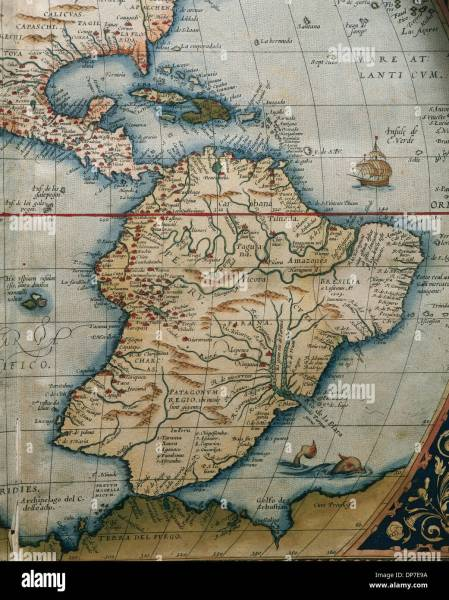 Central And South America Map Stock Photos   Central And South     Map of Central and South America  Theatrum Orbis Terrarum by Abraham  Ortelius  1527