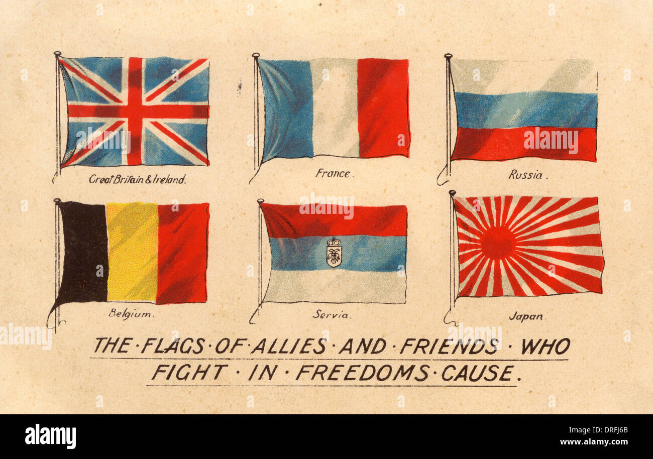 Flags Of The Allied Countries During Wwi Stock Photo
