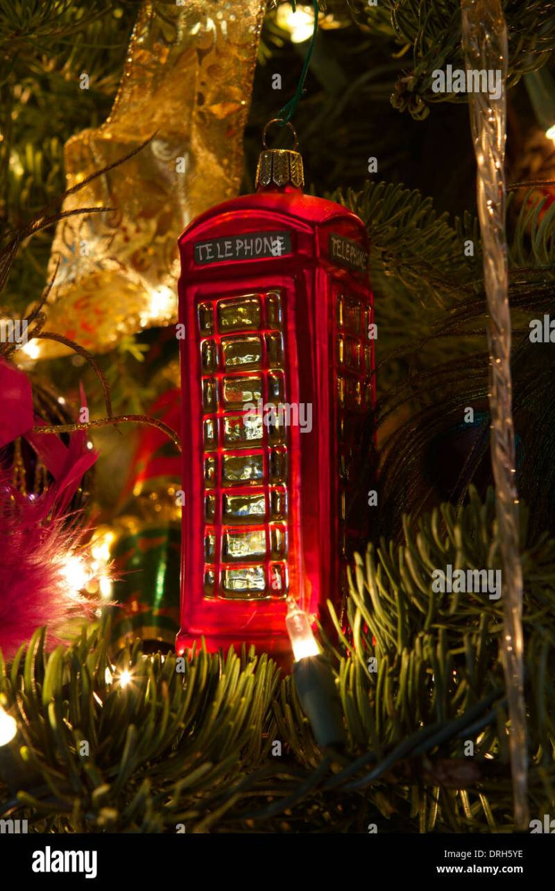 christmas tree decorations british red telephone box stock photo - British Christmas Tree Decorations