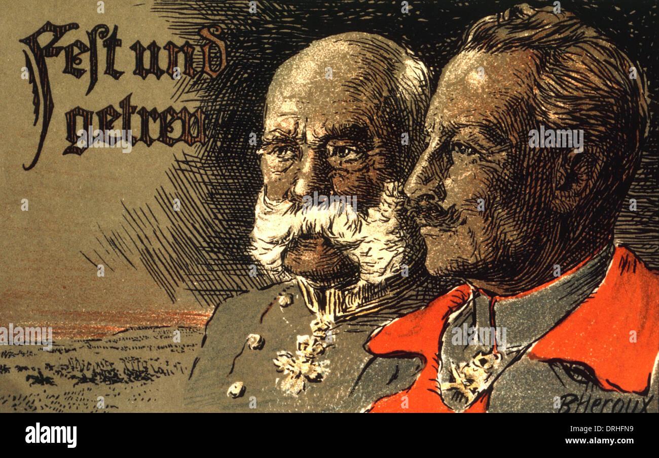 German Propaganda Postcard Two Kaisers Ww1 Stock Photo