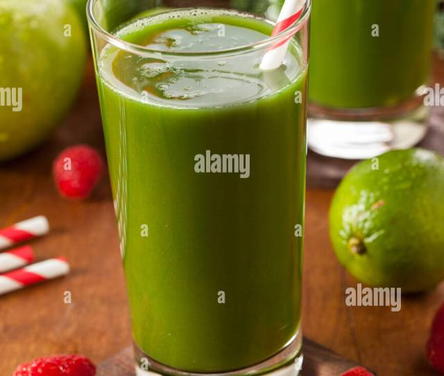 Healthy Green Vegetable And Fruit Smoothi Juice With Apple And Greens Stock Image