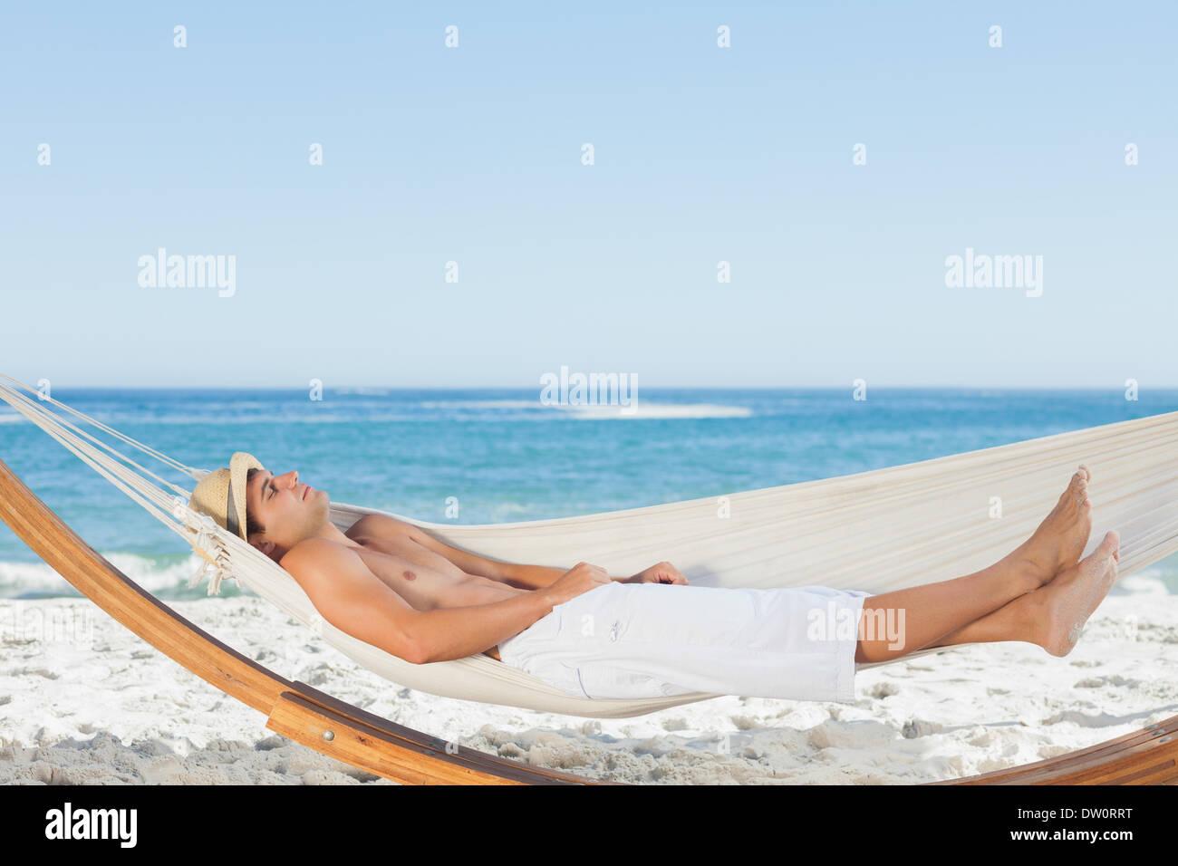 Senior Man Relaxing In Hammock Stock Image Man Relaxing