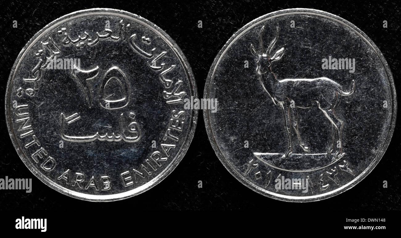 25 Fils Coin United Arab Emirates Stock Photo