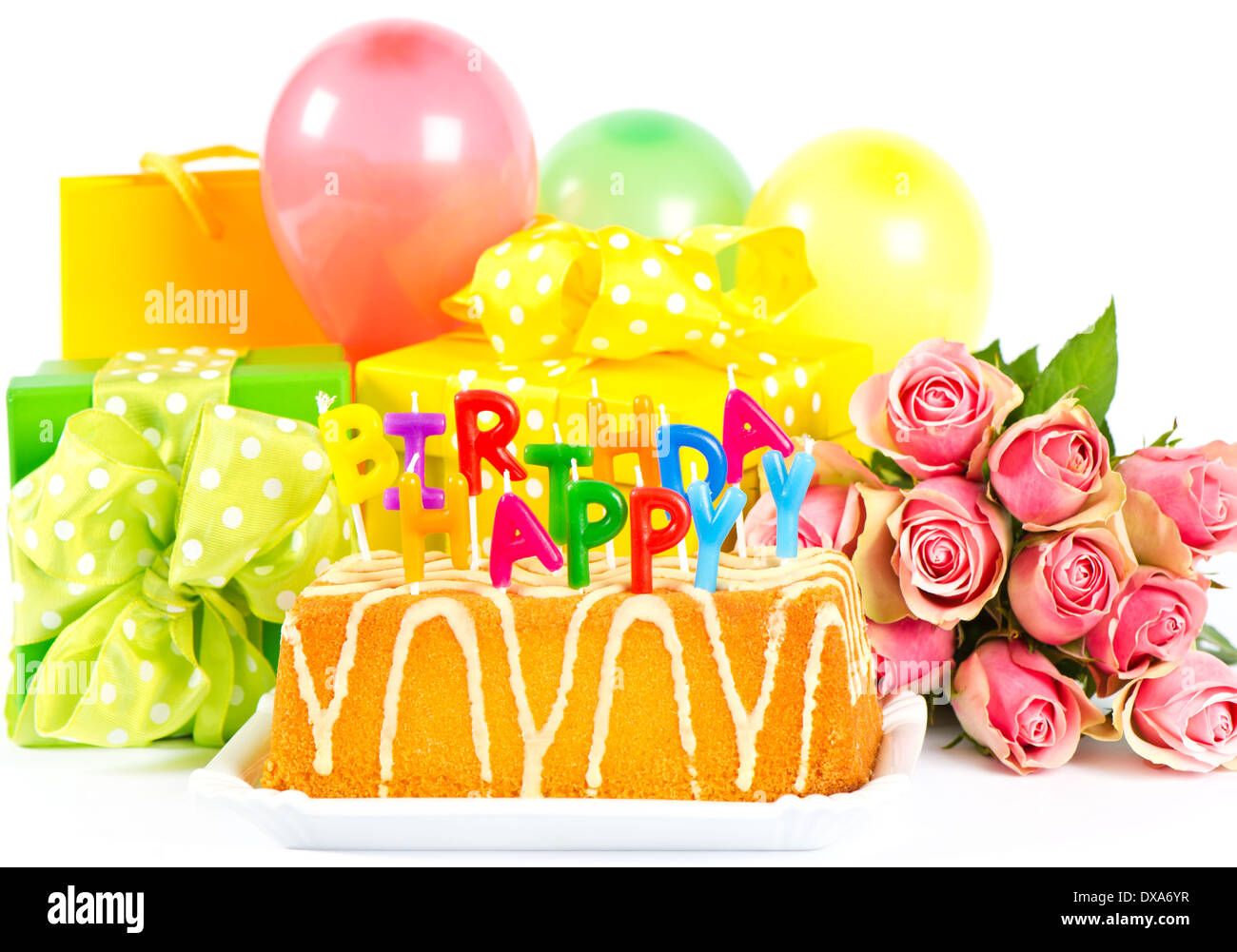 Happy Birthday Party Decoration With Roses Flowers Cake Balloons Gifts And Candles Stock Photo Alamy