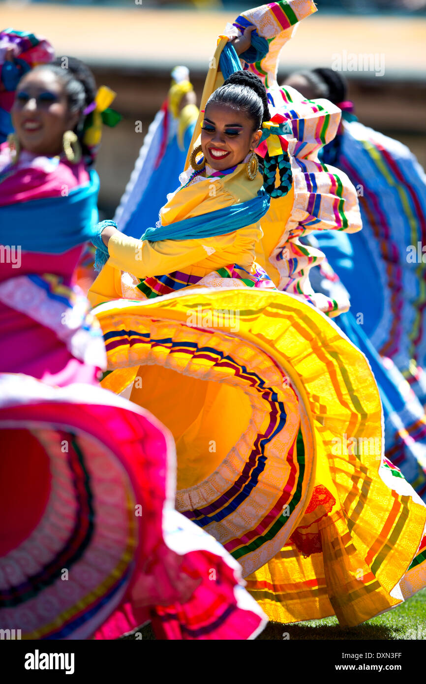 Group Of Mexican Female Folk Dancers Wearing Mexican Traditional
