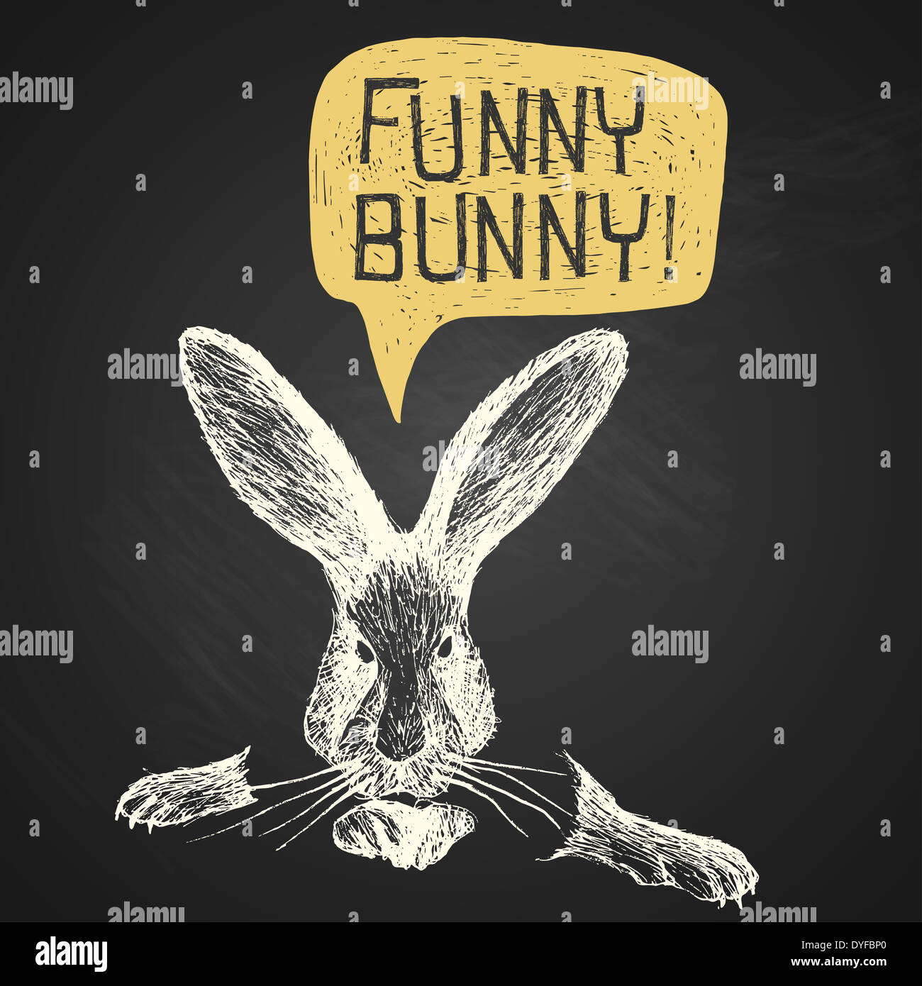Easter Hand Drawn Funny Bunny With Humorous Phrase On Chalkboard