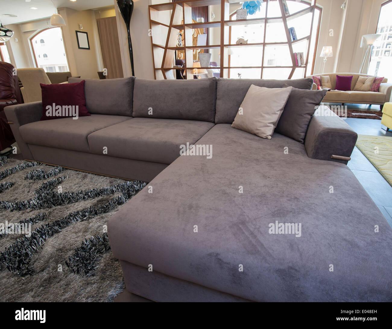https www alamy com large l shaped corner sofa in living room furniture show home image68935961 html
