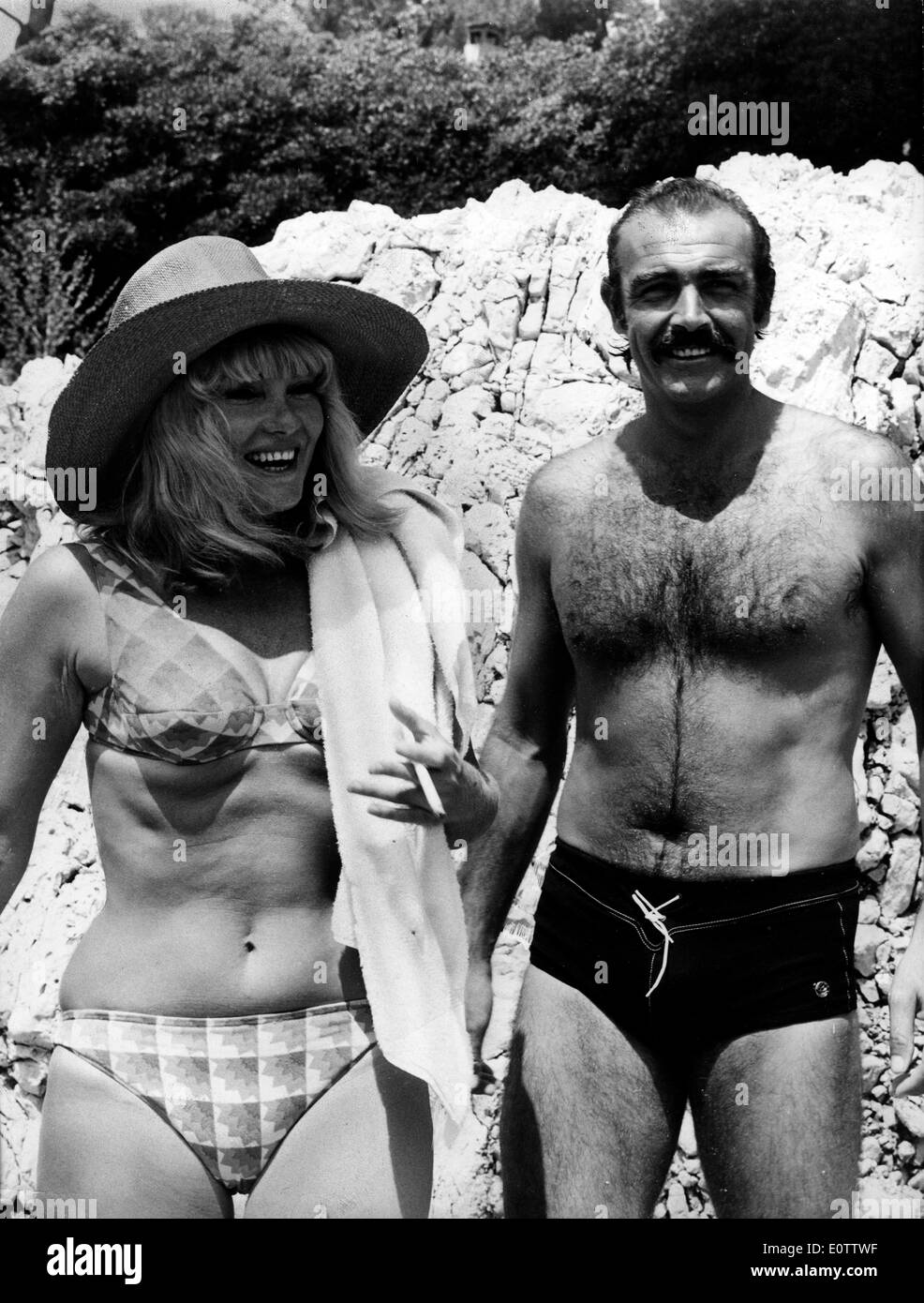 Actor Sean Connery At The Beach With Wife Diane Cilento