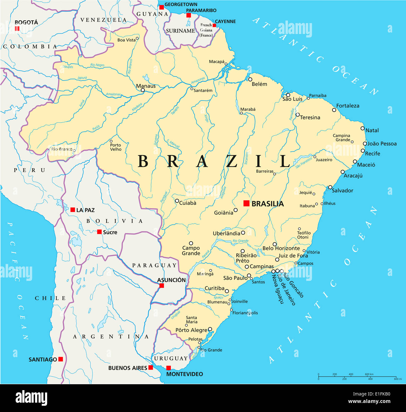Brazil Political Map With Capital Brasilia National