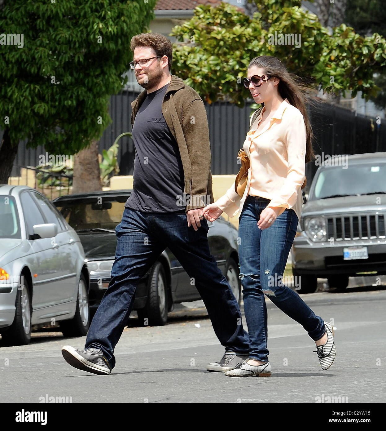 Actor Seth Rogen Gets A Surprise Visit On His Birthday From His Wife Lauren Miller On The Set Of Townies Featuring Seth Rogenlauren Miller Where Los